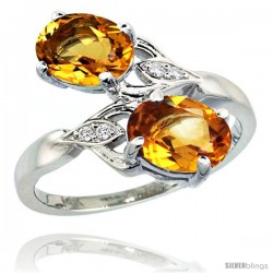 14k White Gold ( 8x6 mm ) Double Stone Engagement Citrine Ring w/ 0.04 Carat Brilliant Cut Diamonds & 2.34 Carats Oval Cut