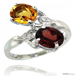 14k White Gold ( 8x6 mm ) Double Stone Engagement Citrine & Garnet Ring w/ 0.04 Carat Brilliant Cut Diamonds & 2.34 Carats Oval
