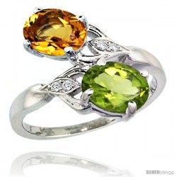 14k White Gold ( 8x6 mm ) Double Stone Engagement Citrine & Peridot Ring w/ 0.04 Carat Brilliant Cut Diamonds & 2.34 Carats