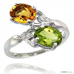 14k White Gold ( 8x6 mm ) Double Stone Engagement Citrine & Peridot Ring w/ 0.04 Carat Brilliant Cut Diamonds & 2.34 Carats