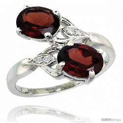 14k White Gold ( 8x6 mm ) Double Stone Engagement Garnet Ring w/ 0.04 Carat Brilliant Cut Diamonds & 2.34 Carats Oval Cut