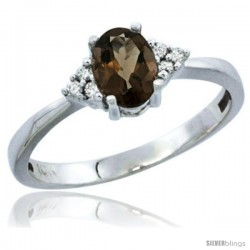 10K White Gold Natural Smoky Topaz Ring Oval 6x4 Stone Diamond Accent -Style Cw907156