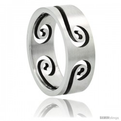 Surgical Steel Swirl Ring 8mm Wedding Band Matte Finish