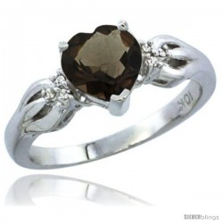 10K White Gold Natural Smoky Topaz Ring Heart-shape 7x7 Stone Diamond Accent