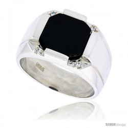 "Sterling Silver Gents' Octagon Black Onyx Ring, w/ 2 Light Grooves At-a-Side & 4 CZ Stones, 1/2"" (13 mm) wide"
