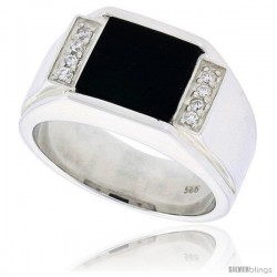 "Sterling Silver Gents' Square Black Onyx Ring, w/ Grooved Edges & 8 CZ Stones, 1/2"" (13 mm) wide"