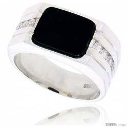 "Sterling Silver Gents' Rectangular Black Onyx Ring, w/ 2 Light Grooves At-a-Side & 8 CZ Stones, 7/16"" (11 mm) wide"