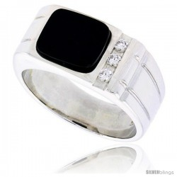"Sterling Silver Gents' Rectangular Black Onyx Ring, w/ 2 Light Grooves At each Side & 3 CZ Stones, 3/8"" (10 mm) wide"