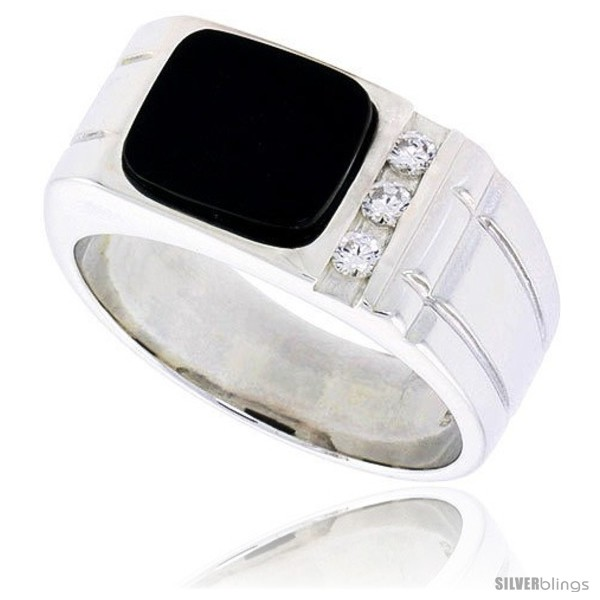 Mens Sterling Silver Black Onyx Scorpion Ring Screw Accents /& American Eagle on Sides 5//8 inch Wide