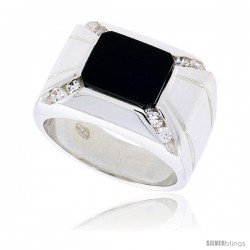 "Sterling Silver Gents' Rectangular Black Onyx Ring, w/ 2 Light Grooves At each Side & 8 CZ Stones, 9/16"" (14 mm) wide"