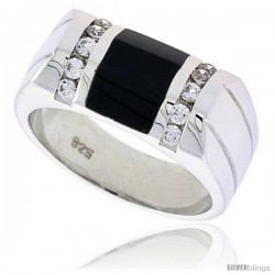 "Sterling Silver Gents' Beveled-Rectangular Black Onyx Ring, w/ 2 Light Grooves At each Side & 10 CZ Stones, 3/8"" (10 mm) wide"