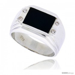 """Sterling Silver Gents' Rectangular Black Onyx Ring, w/ Double-Groove Corners & 4 CZ Stones, 1/2"""" (12 mm) wide"""