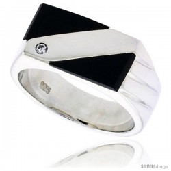 "Sterling Silver Gents' Double Triangle Black Onyx Ring, w/ 3 Light Grooves At one Side & 1 CZ Stone, 3/8"" (10 mm) wide"