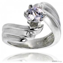 Sterling Silver Ladies' Cubic Zirconia Ring 1 ct. size CZ Flawless finish