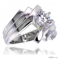 Sterling Silver Ladies' Cubic Zirconia Ring 1 ct. size CZ Flawless finish -Style Rcz301
