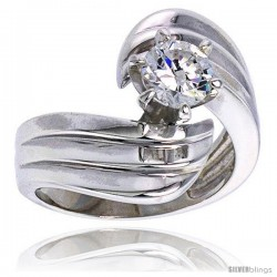 Sterling Silver Ladies' Cubic Zirconia Ring 1 ct. size CZ Flawless finish -Style Rcz303