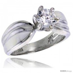 Sterling Silver Ladies' Cubic Zirconia Ring 1 ct. size CZ Flawless finish -Style Rcz304