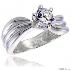 Sterling Silver Ladies' Cubic Zirconia Ring 1 ct. size CZ Flawless finish -Style Rcz305