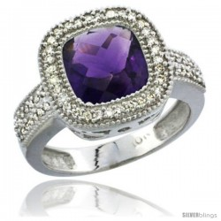 14k White Gold Ladies Natural Amethyst Ring Cushion-cut 4 ct. 8x8 Stone Diamond Accent