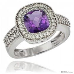 14k White Gold Ladies Natural Amethyst Ring Cushion-cut 3.5 ct. 7x7 Stone Diamond Accent
