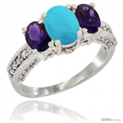 14k White Gold Ladies Oval Natural Turquoise 3-Stone Ring with Amethyst Sides Diamond Accent