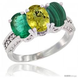 10K White Gold Natural Emerald, Lemon Quartz & Malachite Ring 3-Stone Oval 7x5 mm Diamond Accent