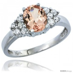 10K White Gold Natural Morganite Ring Oval 8x6 Stone Diamond Accent