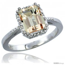 10K White Gold Natural Morganite Ring Emerald-shape 8x6 Stone Diamond Accent