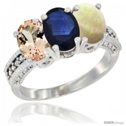 10K White Gold Natural Morganite, Blue Sapphire & Opal Ring 3-Stone Oval 7x5 mm Diamond Accent