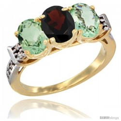10K Yellow Gold Natural Garnet & Green Amethyst Sides Ring 3-Stone Oval 7x5 mm Diamond Accent