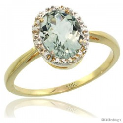 10k Yellow Gold Green Amethyst Diamond Halo Ring 1.17 Carat 8X6 mm Oval Shape, 1/2 in wide