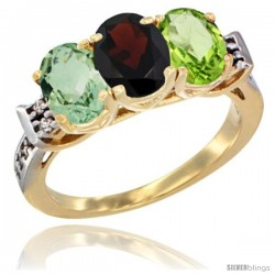 10K Yellow Gold Natural Green Amethyst, Garnet & Peridot Ring 3-Stone Oval 7x5 mm Diamond Accent