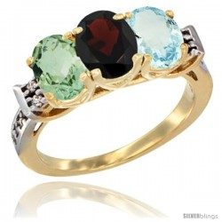10K Yellow Gold Natural Green Amethyst, Garnet & Aquamarine Ring 3-Stone Oval 7x5 mm Diamond Accent