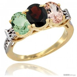10K Yellow Gold Natural Green Amethyst, Garnet & Morganite Ring 3-Stone Oval 7x5 mm Diamond Accent