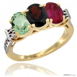 10K Yellow Gold Natural Green Amethyst, Garnet & Ruby Ring 3-Stone Oval 7x5 mm Diamond Accent
