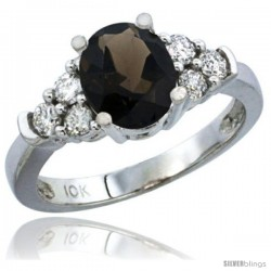 10K White Gold Natural Smoky Topaz Ring Oval 9x7 Stone Diamond Accent