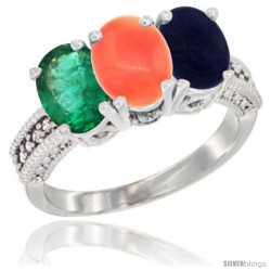 10K White Gold Natural Emerald, Coral & Lapis Ring 3-Stone Oval 7x5 mm Diamond Accent