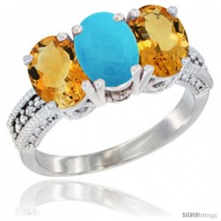 14K White Gold Natural Turquoise & Citrine Sides Ring 3-Stone 7x5 mm Oval Diamond Accent