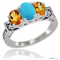 14K White Gold Natural Turquoise & Citrine Ring 3-Stone Oval with Diamond Accent