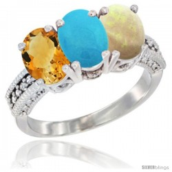 14K White Gold Natural Citrine, Turquoise & Opal Ring 3-Stone 7x5 mm Oval Diamond Accent