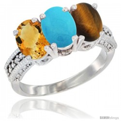 14K White Gold Natural Citrine, Turquoise & Tiger Eye Ring 3-Stone 7x5 mm Oval Diamond Accent