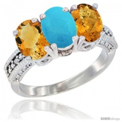 14K White Gold Natural Citrine, Turquoise & Whisky Quartz Ring 3-Stone 7x5 mm Oval Diamond Accent