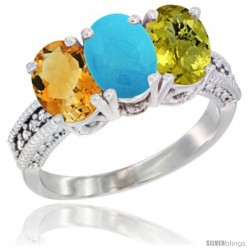 14K White Gold Natural Citrine, Turquoise & Lemon Quartz Ring 3-Stone 7x5 mm Oval Diamond Accent