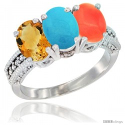 14K White Gold Natural Citrine, Turquoise & Coral Ring 3-Stone 7x5 mm Oval Diamond Accent