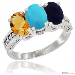 14K White Gold Natural Citrine, Turquoise & Lapis Ring 3-Stone 7x5 mm Oval Diamond Accent