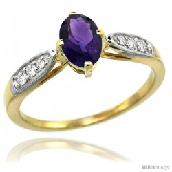 14k Gold Natural Amethyst Ring 7x5 Oval Shape Diamond Accent, 5/16inch wide
