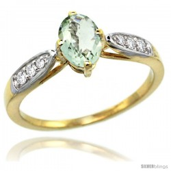 14k Gold Natural Green Amethyst Ring 7x5 Oval Shape Diamond Accent, 5/16inch wide