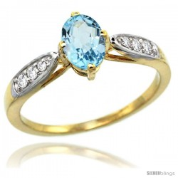 14k Gold Sky Blue Topaz Engagement Ring 1.10 Carats Oval Cut Stone 0.19 cttw Diamonds, 5/16inch.