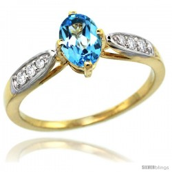 14k Gold Natural Swiss Blue Topaz Ring 7x5 Oval Shape Diamond Accent, 5/16inch wide