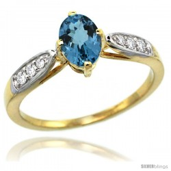 14k Gold Natural London Blue Topaz Ring 7x5 Oval Shape Diamond Accent, 5/16inch wide